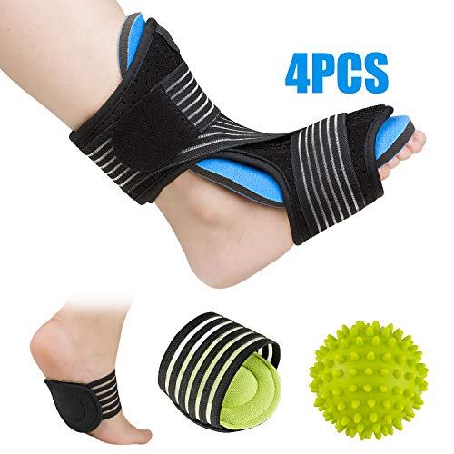 Plantar Fasciitis Night Splint Foot Orthotic Supports Kits - Adjustable Elastic Strap Plantar Fasciitis Braces + Spiky Massage Ball + Arch Supports (2 PCS) for Relieve Planter Fascitis Pain, Foot Spra
