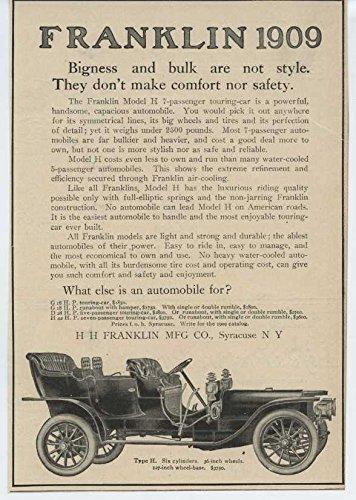 1909 Franklin Type H Syracuse NY Automobile Magazine Ad Pall Mall - Franklin Mall