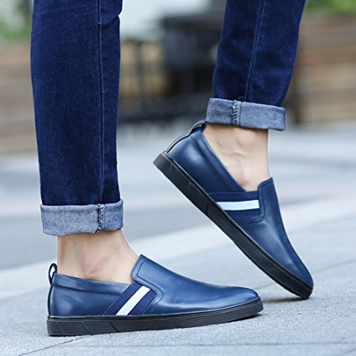 Minitoo Boys Mens Cap-Toe Slip-On Rubber Sole Casual Loafers Blue