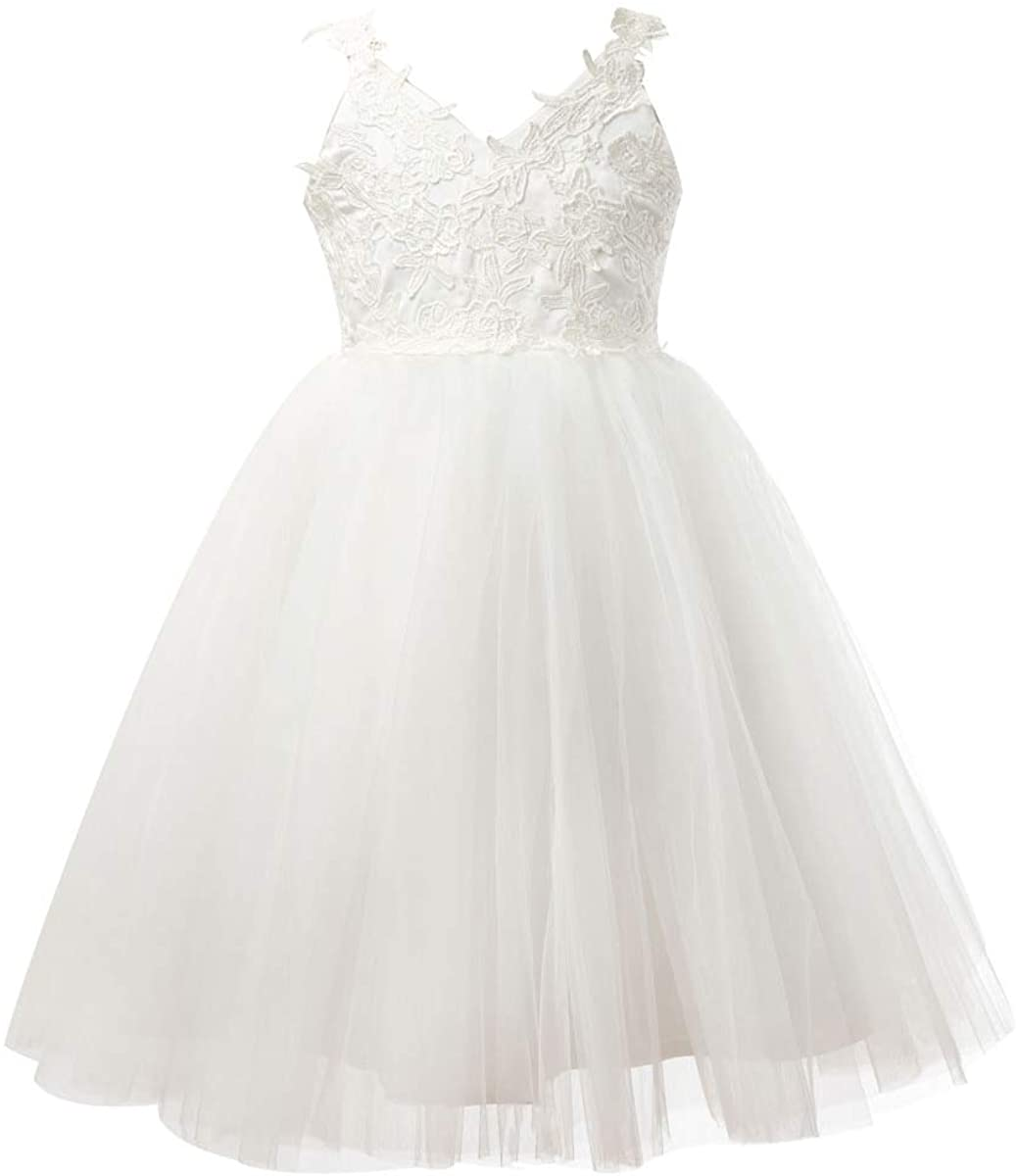 Miama Ivory Lace Tulle Backless Wedding Flower Girl Dress Junior Bridesmaid Dress