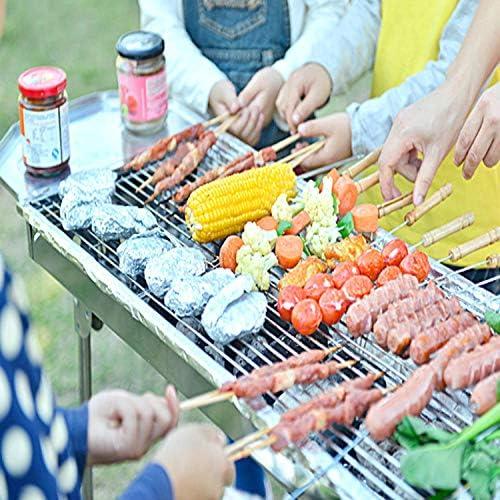 zhongleiss Barbecue Au Charbon Grill Portable Pratique Gril De Barbecue en Acier Inoxydable 3-5 Personnes Grill Extérieur Au Charbon De Bois
