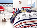 Nautical Bedding Set, %100 Cotton Quilt/Duvet Cover Set, Golden Ships, Helm and Compass Themed, Single/Twin Size, COMFORTER INCLUDED, 5 PCS