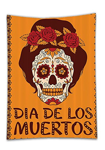 Chaoran Tablecloth Skulls Decorations Collection Frame with Mexican Skull Girl Female Hairstyle Carnival Smily Ornate Party Image Orange Maronn Holiday Home Decorative