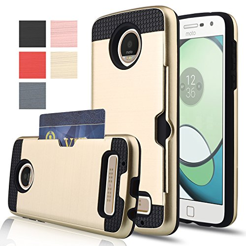 Moto Z Play Case,AnoKe [Credit Card Slots Holder][Not Wallet] Hard Silicone Rubber Hybrid Armor Shockproof Protective Case For Motorola Moto Z Play Droid(2016) KLS Gold