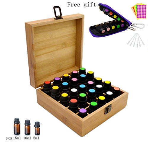Aromatherapy Essential Oil Wooden Bamboo Storage Box Holds 25 Orificer Bottles 5-10-15ML,Fit for Young Living, Pure Body Naturals, doTERRA and others, with Key Chain, Amber Vials, Cap labels, Droppers