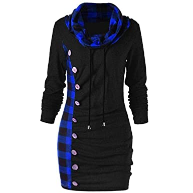 aa33dcfadee Millenniums Sweats à Capuche Robe à Carreaux Bouton Grande Taille Patchwork  Pulls Streetwear Spotlight Chic Cool