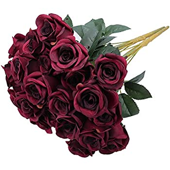 Greentime Artificial Flowers 16 Inches Artificial Silk Rose Bouquet 12 Heads Vintage Rose for Wedding Home Party Valentine's Day Holiday Decoration (Wine Red)