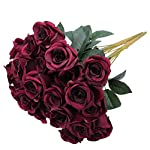 Greentime-Artificial-Flowers-16-Artificial-Silk-Rose-Bouquet-12-Heads-Vintage-Rose-for-Wedding-Home-Party-Valentines-Day-Holiday-Decoration-Wine-Red
