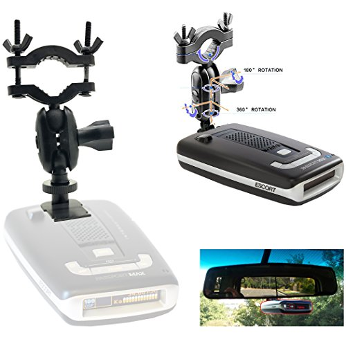 AccessoryBasics Car Rearview Mirror Radar Detector Mount for Escort PASSPORT Max / Max2 / Max 2 / Max II / Max360 (NOT COMPATIBLE with MAX360C MAGNETIC cradle radar)
