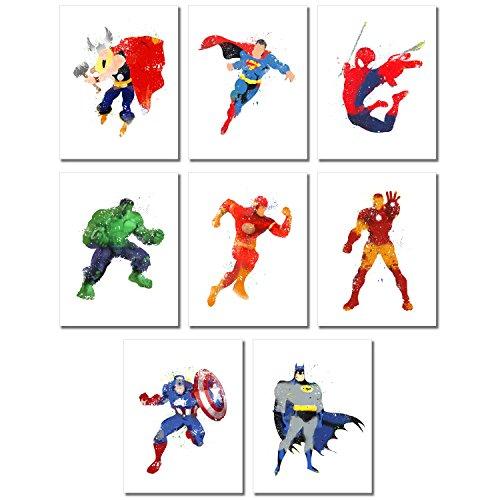 Superhero Watercolor Prints - Set of Eight Photos (8.5 x 11) (Art Comic Prints)