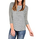 Willow S Women's Fashion Sport 3/4 Sleeve Raglan Striped Stitching Loose T-Shirts Tops Blouse Casual Pullover Gray
