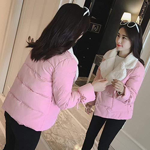 Bottoni Alla Di Con Chiusura Addensare Pink Piumini Autunno Donna Moda Trapuntato Giacche Puro Colore Giovane Trapuntata Elegante Manica Invernali Cappotto Giacca Lunga Tasche zxf4Rw