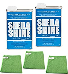 Shelia Shine - Stainless Steel Cleaner and Polish 1 Qt Can (2PK) Bundle with (3PK) Microfiber Cloth (5 ITEMS)