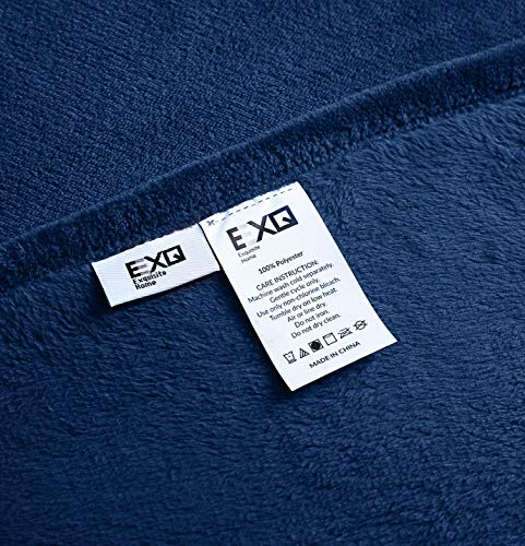 EXQ Home Fleece Blanket Navy Throw Blanket for Couch or Bed - Microfiber Fuzzy Flannel Blanket for Adults or Kids - All weather blanket! EXQ Home winter throw blankets are made of 260 GSM microfiber that can bring warmth and comfortable whether you're on the couch watching TV or reading in bed.(Measures:50 x 60 inches) Irreplaceable Choice! Are you disappointed that you have bought a shedding or pilling blanket?Do you think some blankets are too expensive?Fortunately,you have found us.EXQ Home flannel blanket have exquisite craftsmanship.We refuse to provide inferior products to customers. Perfect Gift! If you are searching for gifts.Our fuzzy blanket can satisfy you.It can be used for travel ,office or bedroom.The babys, adults or pets all will love it.Who would not like a furry blanket? - blankets-throws, bedroom-sheets-comforters, bedroom - 51iM SgUoxL -