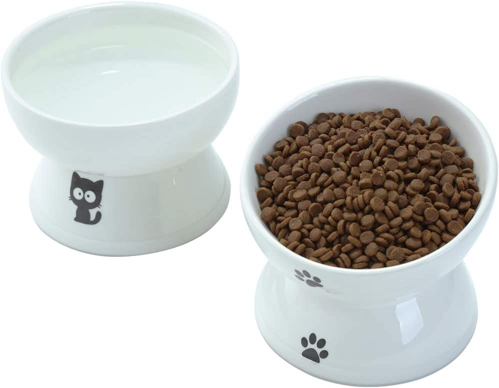FOREYY Tilted Raised Cat Food and Water Bowl Set Anti Vomiting, Elevated Ceramic Cat Feeder Bowls with Anti Slip Band, Slant Porcelain Pet Dish for Flat-Faced Cats, Small Dogs, Dishwasher Safe