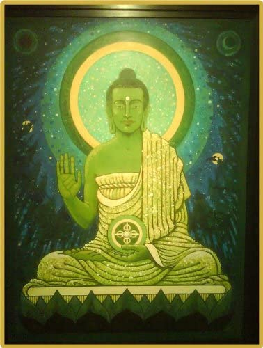Buddhism – Amoghassiddhi Aloka Buddha – Etched Vinyl Stained Glass Film, Static Cling Window Decal