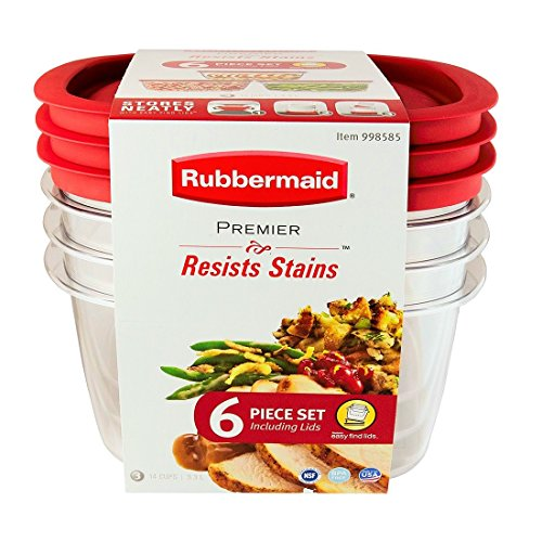 Rubbermaid Premier Food Storage Container, 14-cup Size, Clear. 6 Piece Set. (Rubbermaid Food Premier Storage)