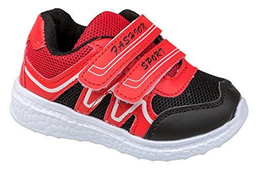 gibra - Zapatillas para deportes de interior de textil/sintético para niña rojo y negro