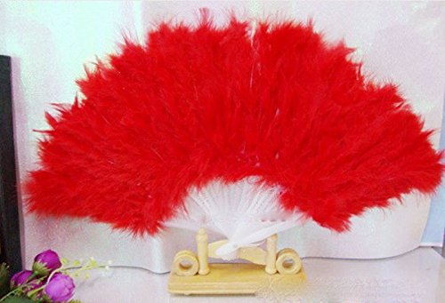 Red Mist Costumes (Red Soft Fluffy Lady Burlesque Wedding Hand Fancy Dress Costume Dance Feather Fan)
