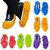 YaptheS 5 Pairs of mop Slippers Covered with Soft Washable Reusable Super Fiber Bottoming Socks Floor dust dust Hair Cleaner (Orange, Pink, Green, Purple, Blue) Household Products