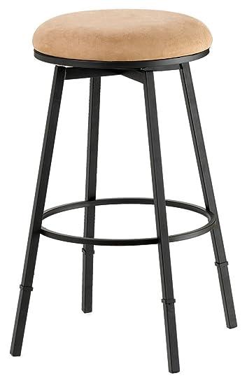 sanders adjustable backless bar stool matte black w bear suede