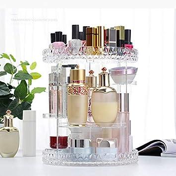 multifunci/ón organizador de maquillaje desmontable Caja de almacenamiento de cosm/éticos con cristales giratorios 360 Amosz