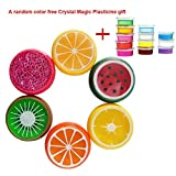 Luweki 6PC Crystal Fruit Clay Rubber Mud Intelligent Hand Gum Plasticine Slime Kid Toys