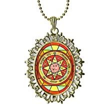 Solomons 7th Pentacle of Mars to Daze & Disorient Rivals Huge Light Gold Medallion Rhinestone Pendant