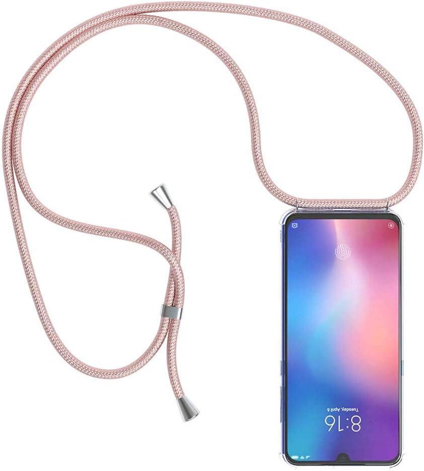 YuhooTech Funda con Cuerda para Xiaomi Mi 8, [Moda y Practico] [ Anti-Choque] [Anti-rasguños] Suave Silicona Transparente TPU Carcasa de movil con Colgante/Cadena, Oro Rosa