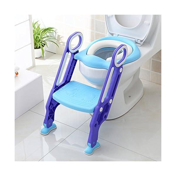 BAMNY Siège de Toilette Enfant Pliable et Réglable, Reducteur de Toilette Bébé avec Marches Larges, Lunette de Toilette Confortable Matériaux de Haute Qualité (Bleu) 1