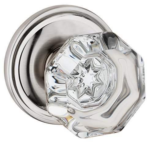 Dynasty Hardware Classic Rosette, Crystal Style Door Knob, Passage Hall/Closet Function, Satin Nickel