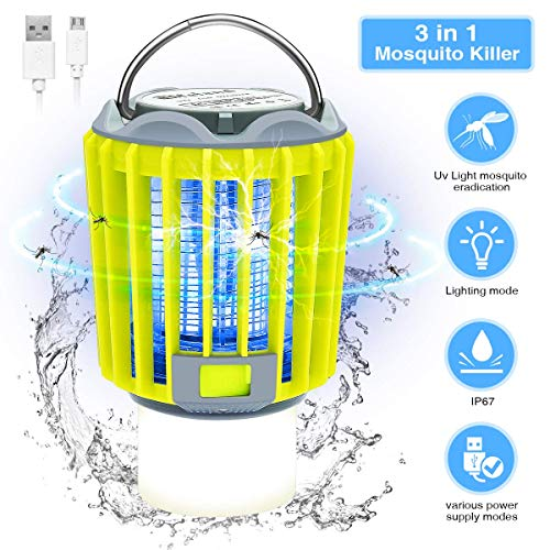 (Elfeland Electric Bug Zapper Camping Lantern Flashlight Portable Outdoor Tent Light IP67 Waterproof USB Rechargeable LED Night Light 4 Lighting Modes for Indoor and Outdoor)