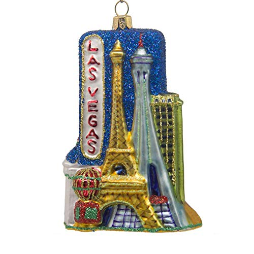 CDL 5 inches Las Vegas Ornament Souvenirs Christmas Ornaments Travel Memorabilia Glass Blown Glass Ornaments (5