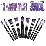 Elemart(TM) 10pcs Kabuki Makeup Brush Kit Foundation Blending Blush Eyeliner Face Powder Brush Makeup Brush Set (Purple)