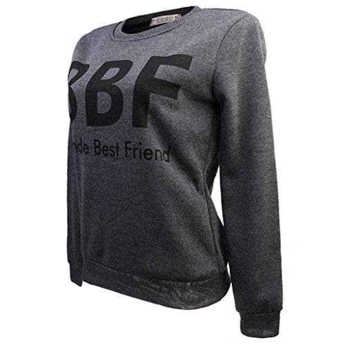Moda Camisa De Manga Larga Puente BBF Impresión Para Mujeres Superiores Suéter Ocasional gris profundo