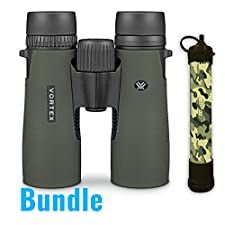 Vortex Optics New 2016 Diamondback 10x42 Roof Prism Binoculars With a Free Pursonic SS1 Survivor Straw Personal Water Filter included!