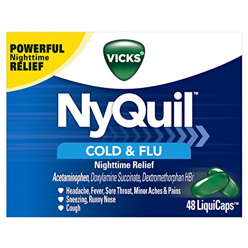 - Vicks NyQuil Cough, Cold & Flu Nighttime Relief, 48 LiquiCaps - #1 Pharmacist Recommended - Nighttime Sore Throat, Fever, and Congestion Relief (Packaging May Vary)