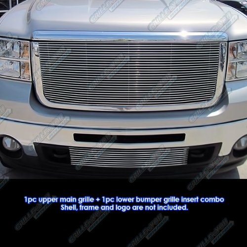 APS Compatible with 2007-2010 GMC Sierra 2500 3500 HD Billet Grille Grill Combo Insert G61185A