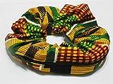 African multi color print design Handmade Scrunchie Purse w zipper storage Great for Gym Swim Jog