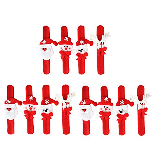- 12 Pcs Christmas Slap Bracelets Santa Claus Snowman Reindeer Wristband Xmas Decorations Party Favors