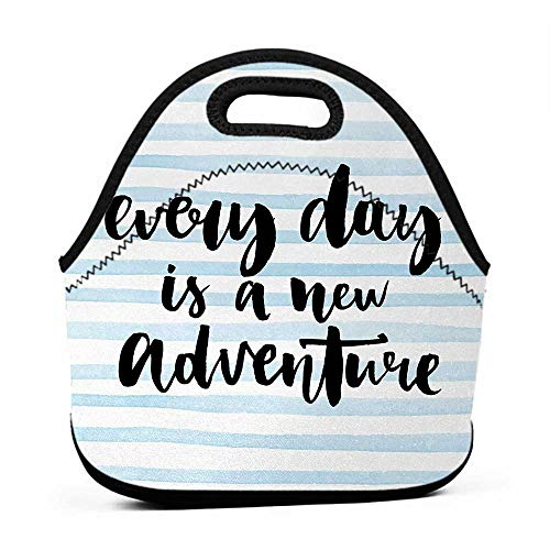 Tote Waterproof Outdoor Inspirational Quotes,Every Day is a New Adventure Calligraphy Text Watercolor Stripes Print,Light Blue,satchel lunch bag for men