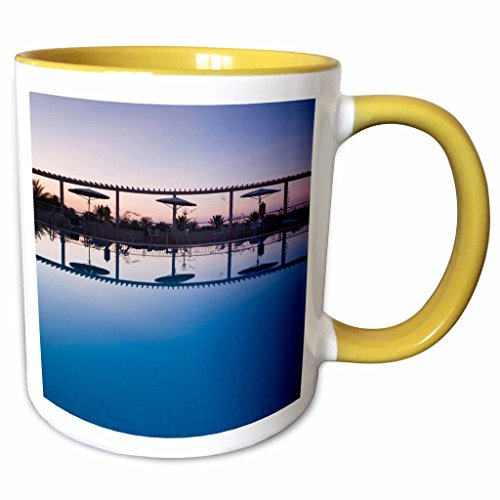 3dRose Danita Delimont - Hotels - Tunisia, Jerid Area, Tozeur, Hotel El Mouradi Pool-AF47 WBI0654 - Walter Bibikow - 11oz Two-Tone Yellow Mug (Hotel El Mouradi Pool)