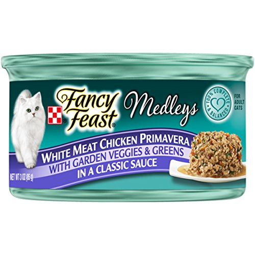 Purina Fancy Feast Medleys Classic White Meat Chicken Primavera With Garden Veggies & Greens Adult Wet Cat Food - 3 oz. Can, Pack of 24