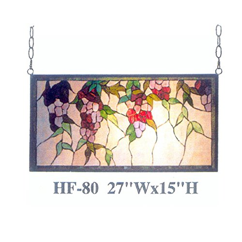 HF-80 Tiffany Style Stained Glass Pastoral Flower String Round Window Hanging Glass Panel Sun Catcher, 15''Hx27''W by Gweat Window Hanging