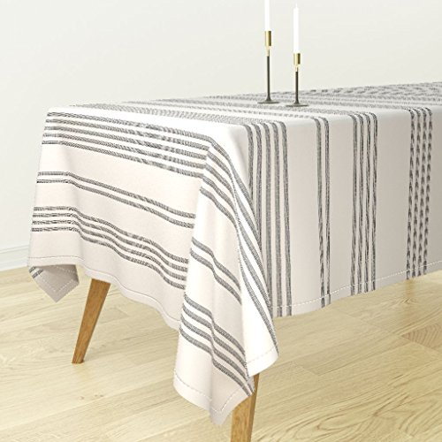 (Roostery Gray Stripe Tablecloth - Grey Ticking Grey Stripes French Ticking Woven Stripe French Stripe Feedsack by Jenlats - Cotton Sateen Tablecloth 70 x 108)