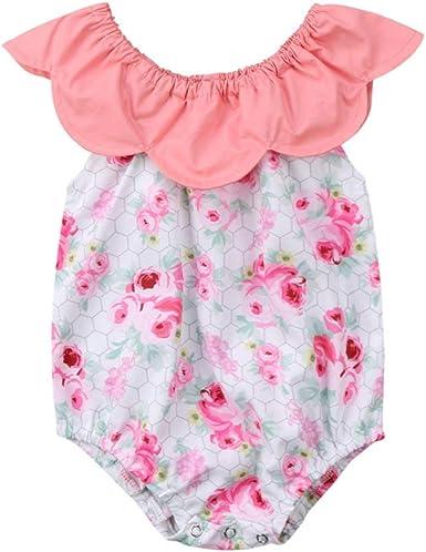Newborn Baby Girl Romper Floral Bodysuit Jumpsuit Outfits Sunsuit Summer Clothes