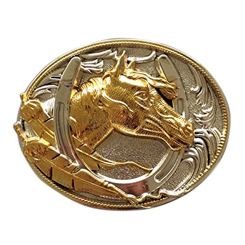 Two-Tone Silver Gold Plated Horse HorseShoe Belt Buckle also Stock in US