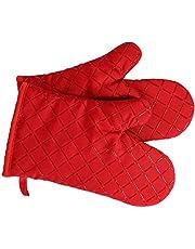Antypoślizgowe rękawice kuchenne klasy premium (1 para) do 240 °C – silikonowe wyjątkowo odporne na wysokie temperatury rękawice do grilla – rękawice do piekarnika, gotowania, pieczenia, wkładki izolacyjne (czerwone)