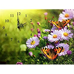 BANBERRY DESIGNS Butterfly Clock - Butterflies and Purple Daisies on a Stretched Canvas Wall Clock - Decorative Clocks