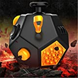12 Sides Fidget Cube - Stress Anxiety and Boredom Relief Weemboo Anti-anxiety and Depression Toys for Children and Adults (Black)